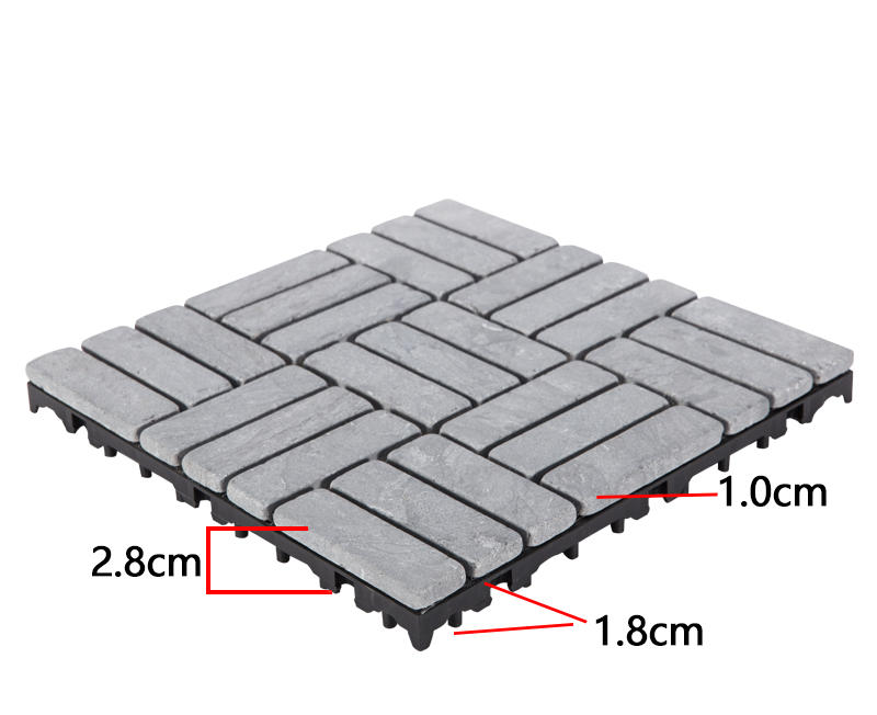 Easy install decking tile 30cm for playground TTS27P-GY-3