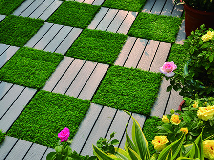 Patio floor artificial grass deck tiles G001-2-18