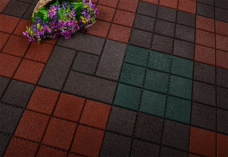 Interlocking Patio rubber floor tiles XJ-SBR-DBR003-7