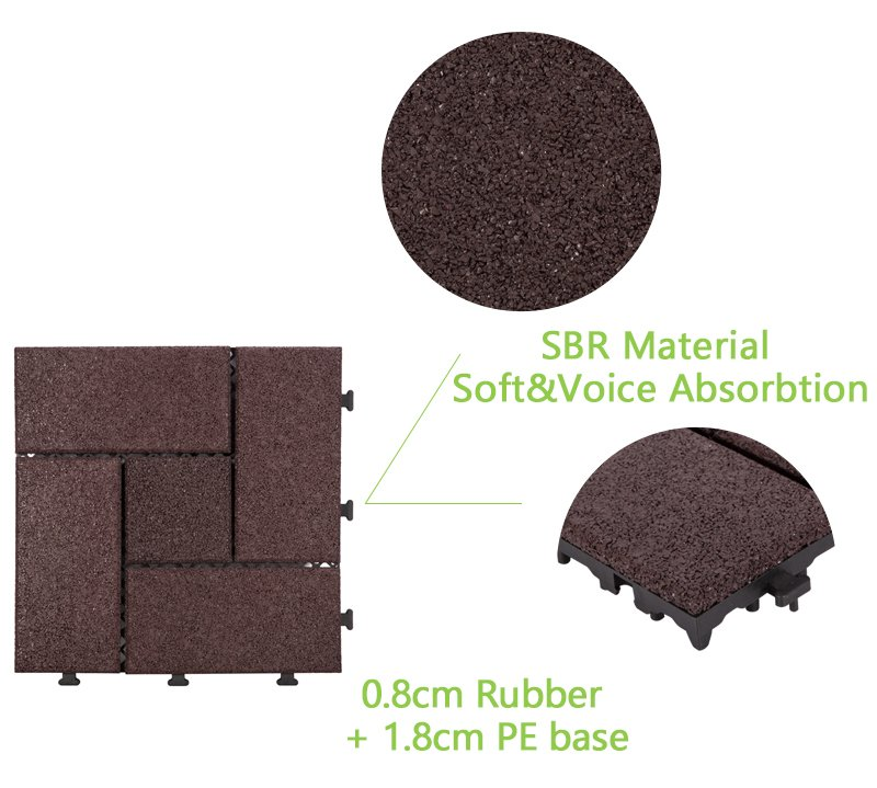 Interlocking Patio rubber floor tiles XJ-SBR-DBR003-4