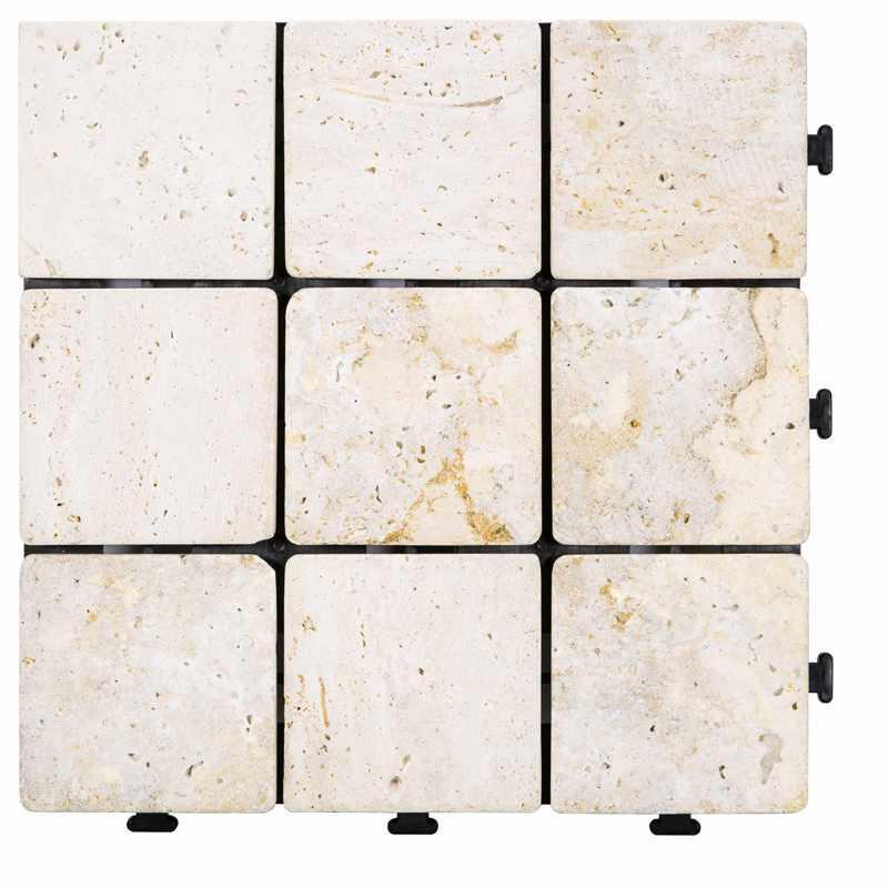 Interlocking deck tiles travertinestone for outdoor flooring TTS9P-YL