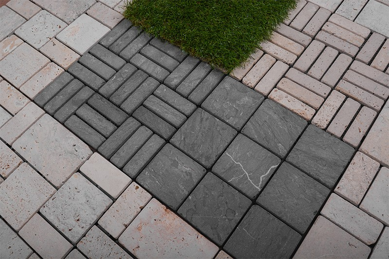 Interlocking deck tiles travertine stone for outdoor flooring TTS9P-YL-8
