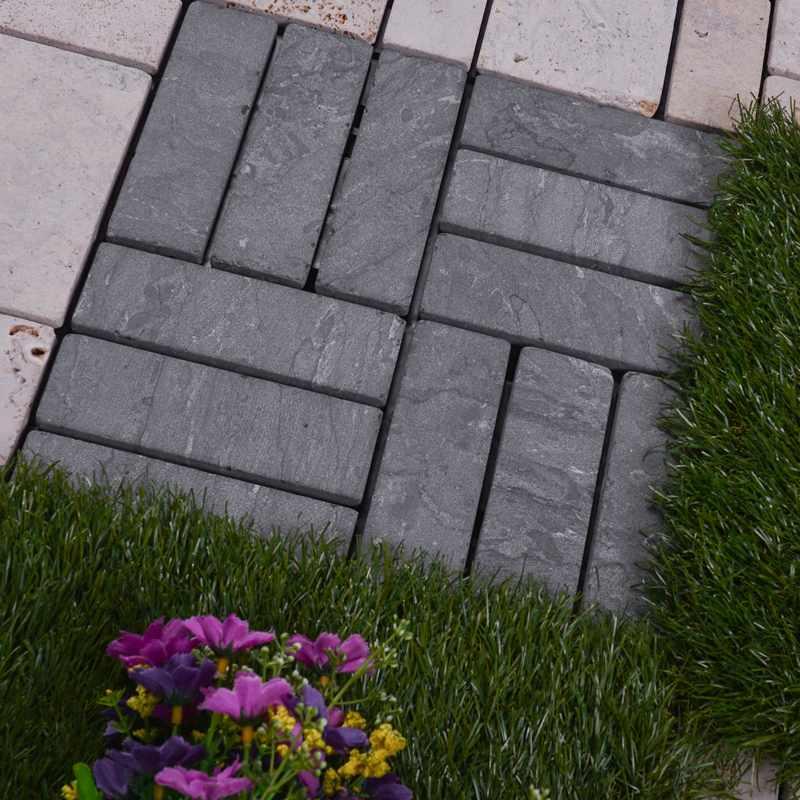 JIABANG Online outdoor interlocking floor limestone tile TTS12P-GY Travertine Deck Tile image21