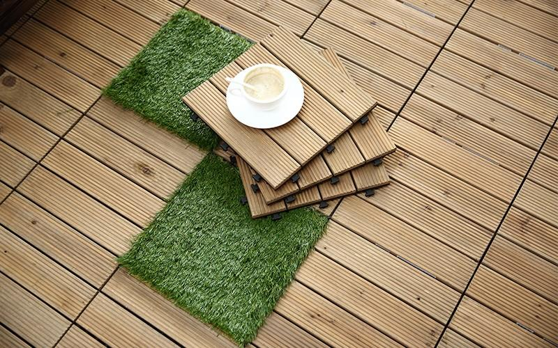 interlocking wood deck panels natural chic design for garden