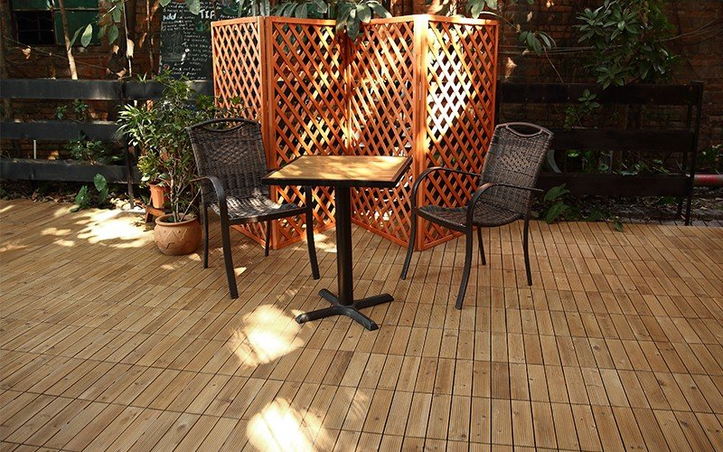 interlocking wood deck panels natural chic design for garden-8
