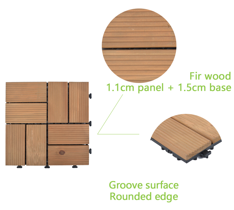 Garden decking fir wooden floor tiles  S8P3030BC-4