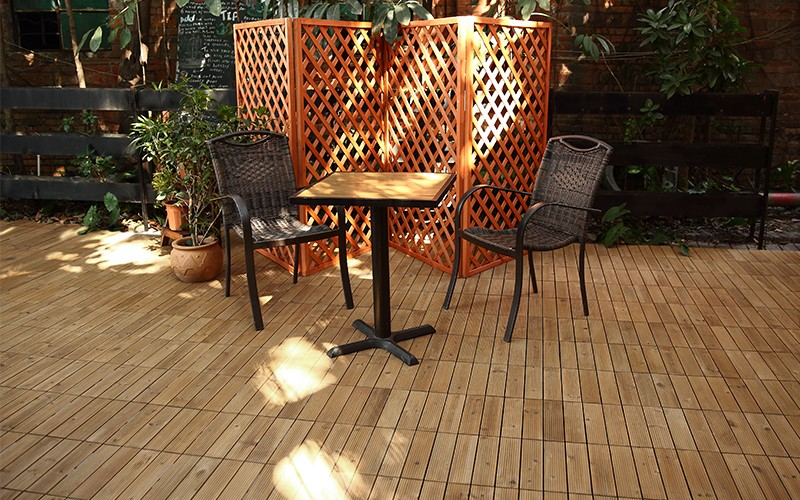 JIABANG natural interlocking wood deck tiles long size for garden-6
