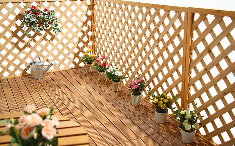 JIABANG natural interlocking wood deck tiles long size for garden-8