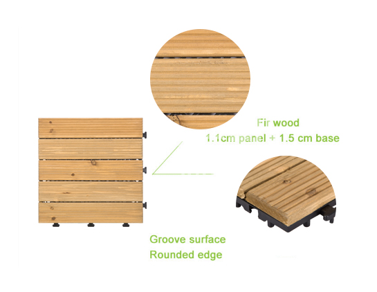 modular wood decking natural for balcony JIABANG-4
