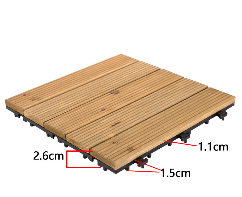 JIABANG natural interlocking wood deck tiles long size for garden-3