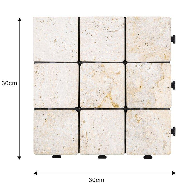 Interlocking deck tiles travertine stone for outdoor flooring TTS9P-YL-1